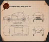 Mitsubishi Lancer sedan 2012 Blueprint
