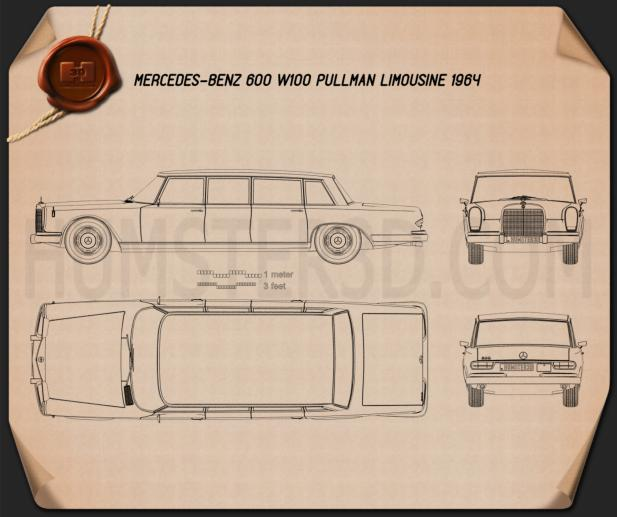 Mercedes-Benz 600 W100 Pullman 1964 Blueprint