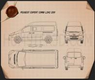 Peugeot Expert II Combi L2H2 2011 Blueprint