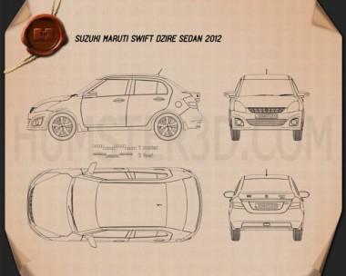 Suzuki (Maruti) Swift Dzire sedan 2012 Blueprint