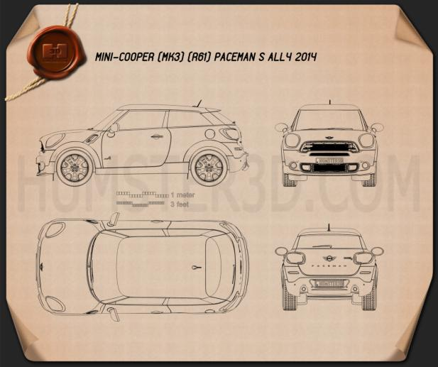 Mini Cooper Paceman S All4 2014 Blueprint