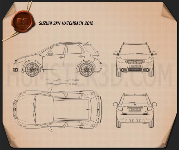 Suzuki (Maruti) SX4 hatchback 2012 Blueprint 3d model
