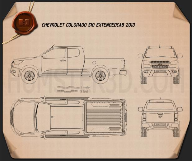 Chevrolet Colorado S-10 Extended Cab 2013 Blueprint