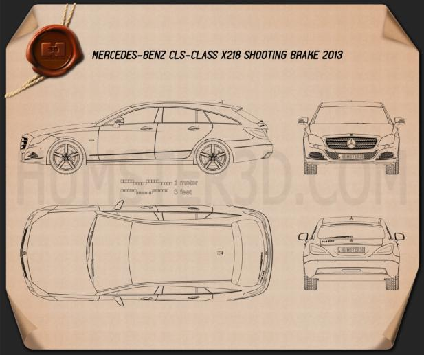 Mercedes-Benz CLS-Class X218 Shooting Brake 2013 Blueprint
