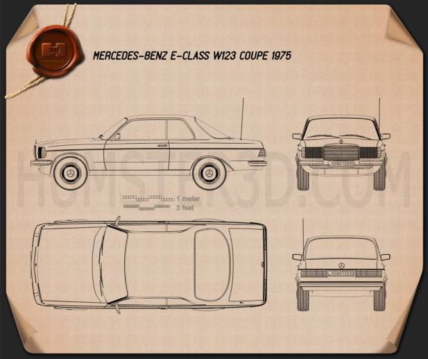 Mercedes-Benz E-Class W123 coupe 1975 Blueprint