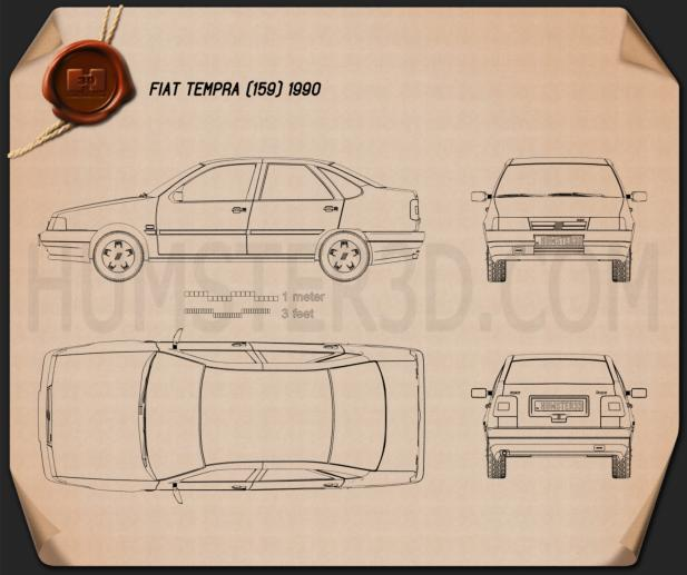 Fiat Tempra 1990 Blueprint