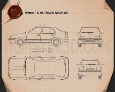Renault 19 5-door hatchback 1988 Blueprint