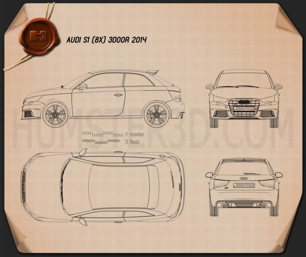 Audi S1 3-door 2014 Blueprint