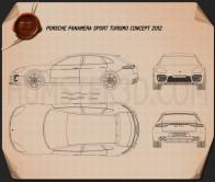 Porsche Panamera Sport Turismo 2012 Blueprint