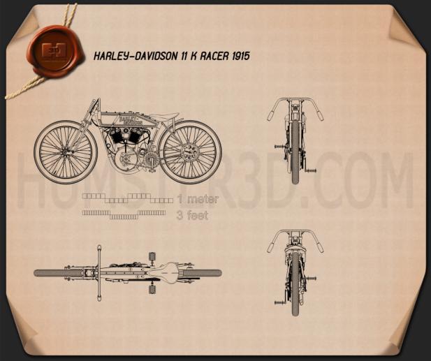Harley-Davidson 11 K Racer 1915 Blueprint