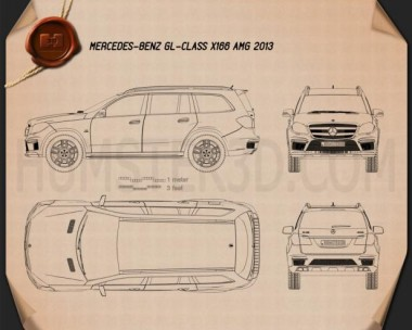 Mercedes-Benz GL-Class X166 AMG 2013 Blueprint
