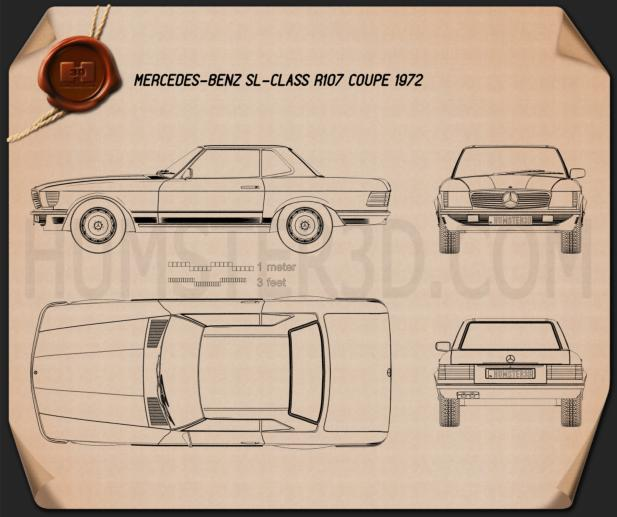 Mercedes-Benz SL-Class R107 coupe 1972 Blueprint