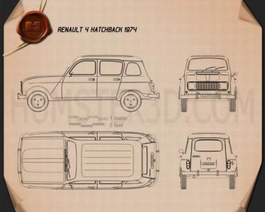 Renault 4 (R4) hatchback 1974 Blueprint