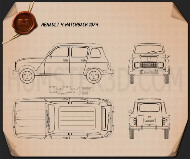 Renault 4 (R4) hatchback 1974 Blueprint