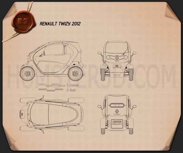 Renault Twizy 2012 Blueprint
