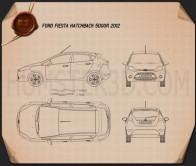 Ford Fiesta hatchback 5-door (EU) 2012 Blueprint
