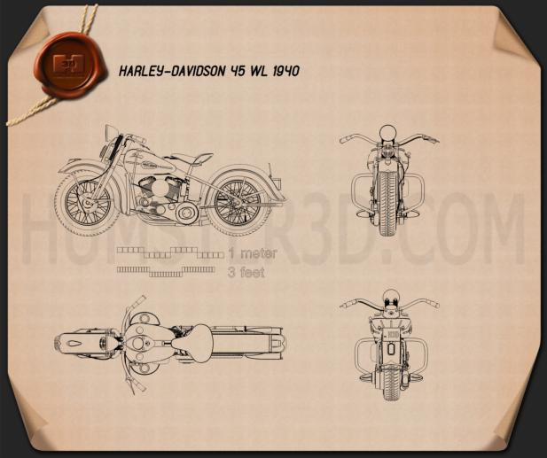 Harley-Davidson 45 WL 1940 Blueprint