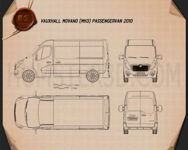 Vauxhall Movano Passenger Van 2010 Blueprint