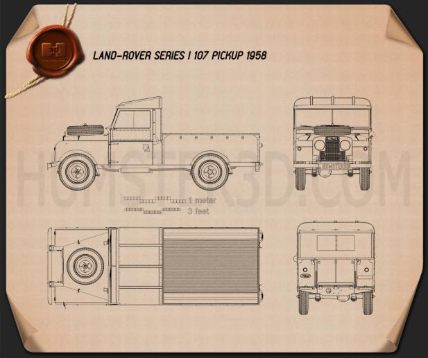 Land Rover Series I 107 Pickup 1958 Blueprint