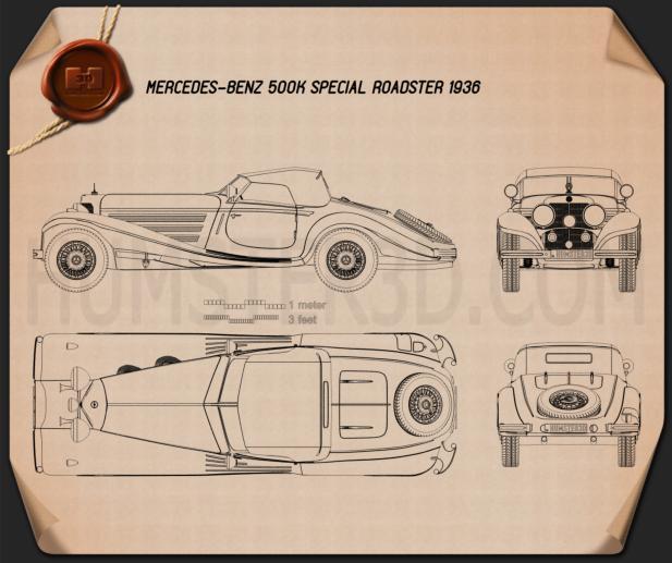 Mercedes-Benz 500K Special Roadster 1936 Blueprint