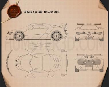 Renault Alpine A110-50 2012 Blueprint