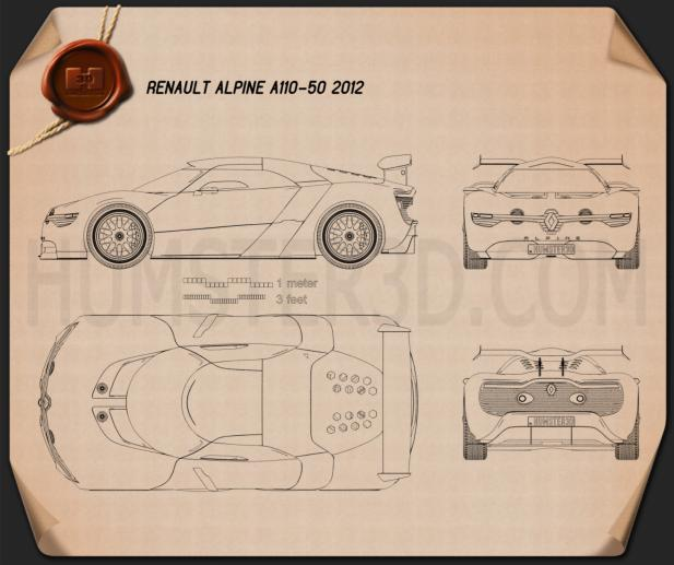 Renault Alpine A110-50 2012 Blueprint