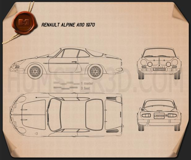 Renault Alpine A110 1970 Blueprint