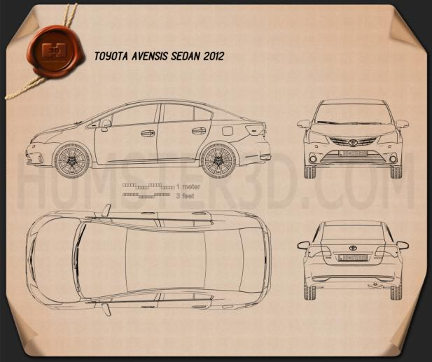 Toyota Avensis Sedan 2012 Blueprint