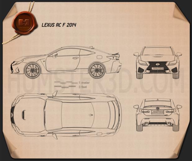 Lexus rc f 2014 blueprint hum3d lexus rc f 2014 blueprint malvernweather Image collections