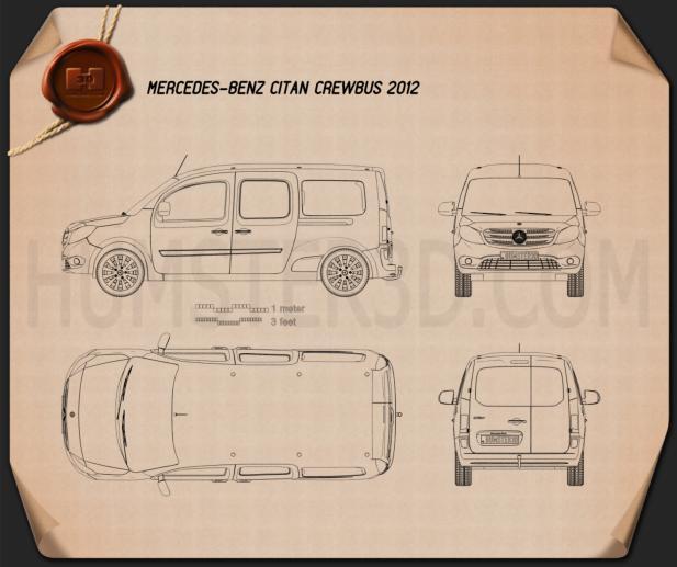 Mercedes-Benz Citan Crew Bus 2012 Blueprint