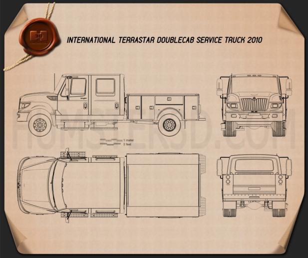 International TerraStar Double Cab Service Truck 2010 Blueprint