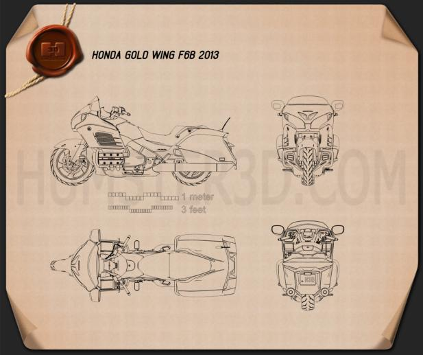 Honda Gold Wing F6B 2013 Blueprint