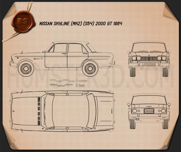 Nissan Skyline (S54) GT 1964 Blueprint