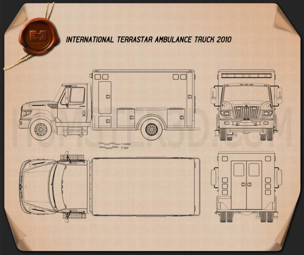 International TerraStar Ambulance Truck 2010 Blueprint