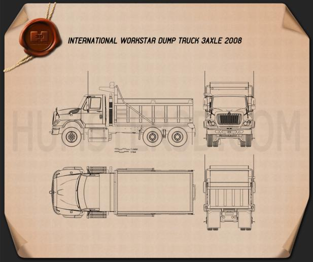 International WorkStar Dump Truck 2008 Blueprint