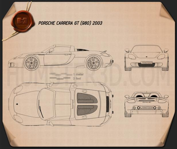 Porsche Carrera GT (980) 2004 Blueprint