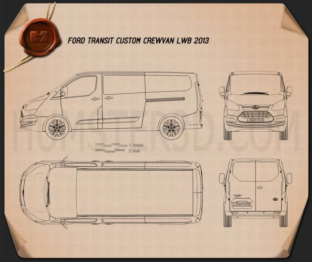 Ford Transit Custom Crew Van LWB 2013 Blueprint