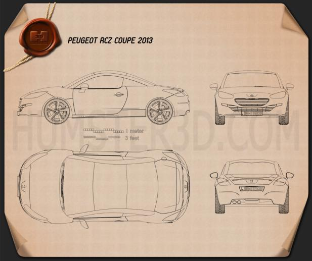 Peugeot RCZ coupe 2013 Blueprint