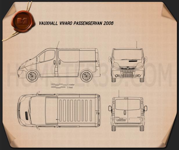 Vauxhall Vivaro Passenger Van 2006 Blueprint