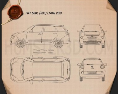 Fiat 500L (330) Living 2013 Blueprint