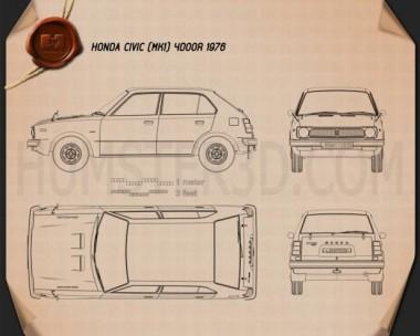 Honda Civic 4-door 1976 Blueprint