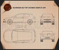 Volkswagen Golf 3-door GTI 2014 Blueprint