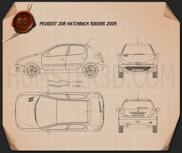 Peugeot 206 hatchback 5-door 2005 Blueprint 3d model