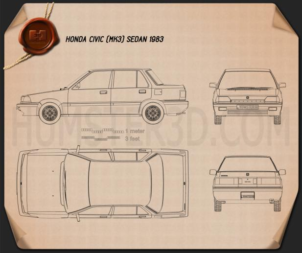 Honda Civic sedan 1983 Blueprint