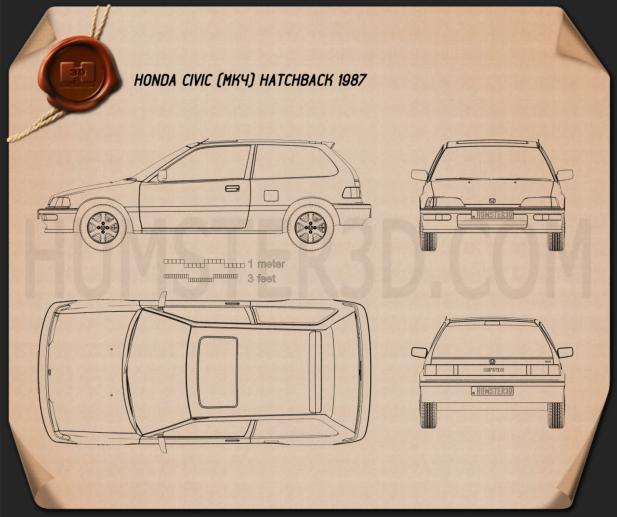 Honda Civic hatchback 1987 Blueprint