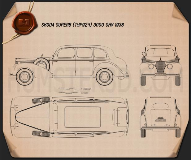Skoda Superb OHV 1938 Blueprint