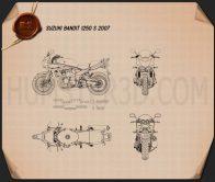 Suzuki Bandit 1250 S 2007 Blueprint