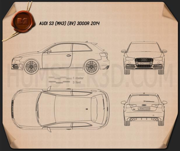Audi S3 3-door 2014 Blueprint