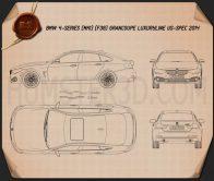 BMW 4 Series (F36) GranCoupe LuxuryLine US-spec 2014 Blueprint