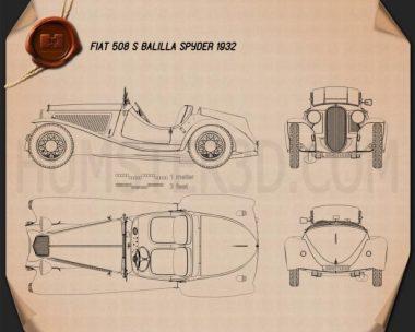Fiat 508 S Balilla spyder 1932 Blueprint